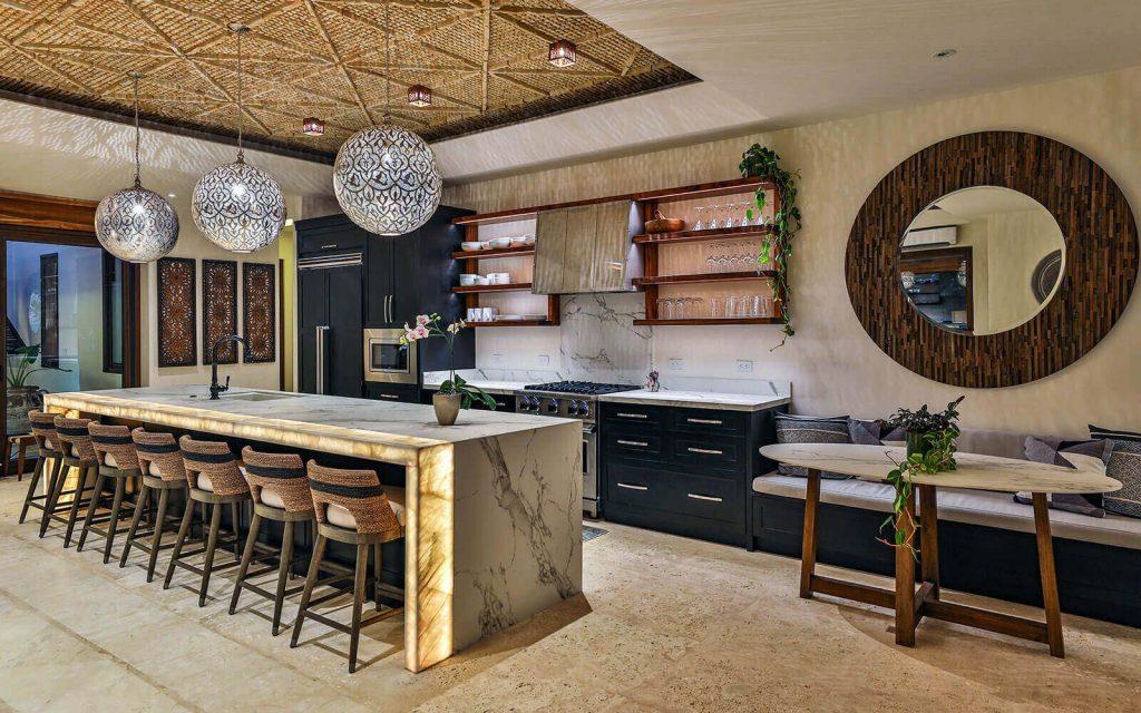 Casa Teresa Luxury Villa Kitchen Island Night View