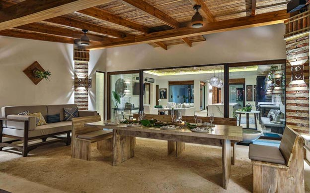 Dining table in luxurious cabana destination