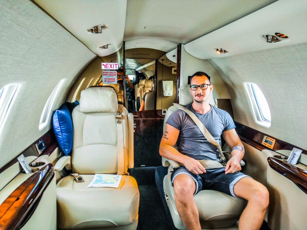 Man sitting in private jet