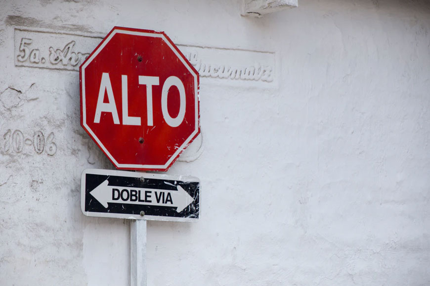 Road signs in Spanish