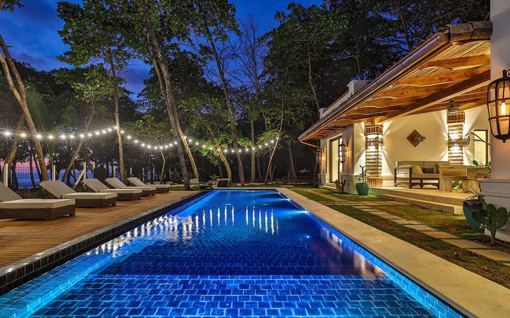 Casa Teresa pool at night in Costa Rica