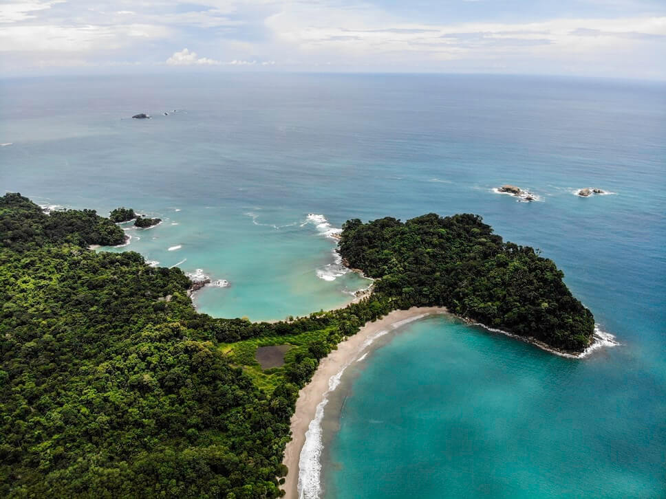 Playa Escondilla and Playa Manuel Antonio, beaches in costa rica from above