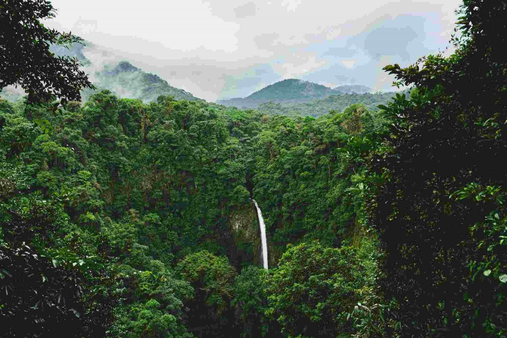 la fortuna waterfall in the rainforest mountains in costa rica