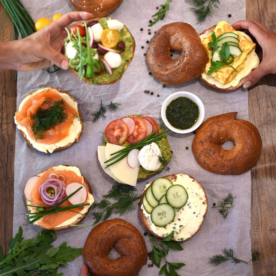 Bagels with various toppings.