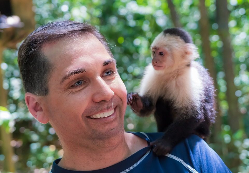 A man with a white-faced capuchin monkey on his shoulder