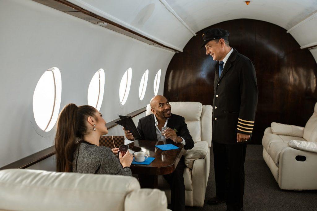 couple enjoying private flight