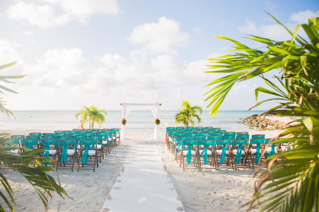 dreamy beach wedding venue set up